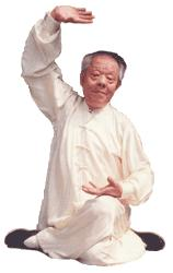 Dr Xie Peiqi in a sitting qigong (chi kung) posture